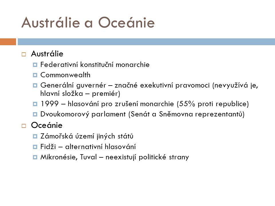 Austrálie a Oceánie  Austrálie  Federativní konstituční monarchie  Commonwealth  Generální guvernér – značné exekutivní pravomoci (nevyužívá je, hlavní složka – premiér)  1999 – hlasování pro zrušení monarchie (55% proti republice)  Dvoukomorový parlament (Senát a Sněmovna reprezentantů)  Oceánie  Zámořská území jiných států  Fidži – alternativní hlasování  Mikronésie, Tuval – neexistují politické strany