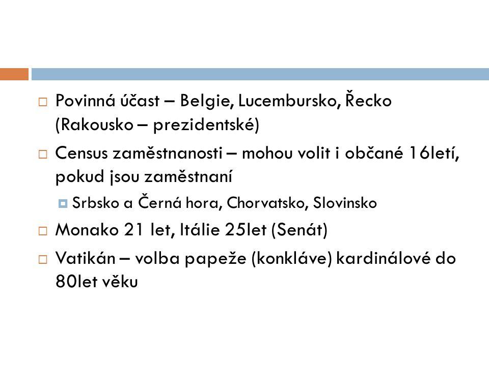  Povinná účast – Belgie, Lucembursko, Řecko (Rakousko – prezidentské)  Census zaměstnanosti – mohou volit i občané 16letí, pokud jsou zaměstnaní  Srbsko a Černá hora, Chorvatsko, Slovinsko  Monako 21 let, Itálie 25let (Senát)  Vatikán – volba papeže (konkláve) kardinálové do 80let věku