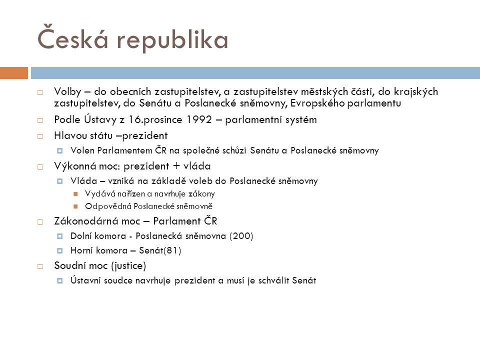 Česká republika  Volby – do obecních zastupitelstev, a zastupitelstev městských částí, do krajských zastupitelstev, do Senátu a Poslanecké sněmovny, Evropského parlamentu  Podle Ústavy z 16.prosince 1992 – parlamentní systém  Hlavou státu –prezident  Volen Parlamentem ČR na společné schůzi Senátu a Poslanecké sněmovny  Výkonná moc: prezident + vláda  Vláda – vzniká na základě voleb do Poslanecké sněmovny Vydává nařízen a navrhuje zákony Odpovědná Poslanecké sněmovně  Zákonodárná moc – Parlament ČR  Dolní komora - Poslanecká sněmovna (200)  Horní komora – Senát(81)  Soudní moc (justice)  Ústavní soudce navrhuje prezident a musí je schválit Senát