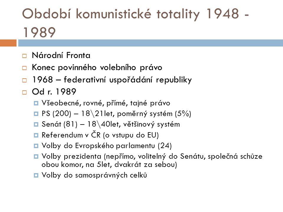 Období komunistické totality 1948 - 1989  Národní Fronta  Konec povinného volebního právo  1968 – federativní uspořádání republiky  Od r.