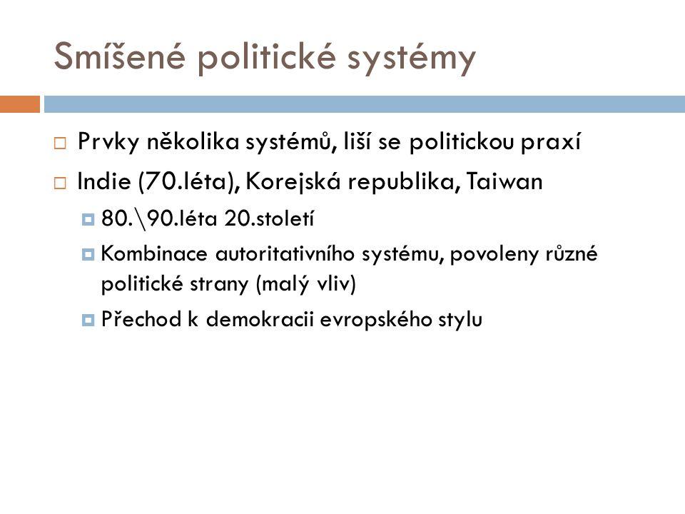 Smíšené politické systémy  Prvky několika systémů, liší se politickou praxí  Indie (70.léta), Korejská republika, Taiwan  80.\90.léta 20.století 