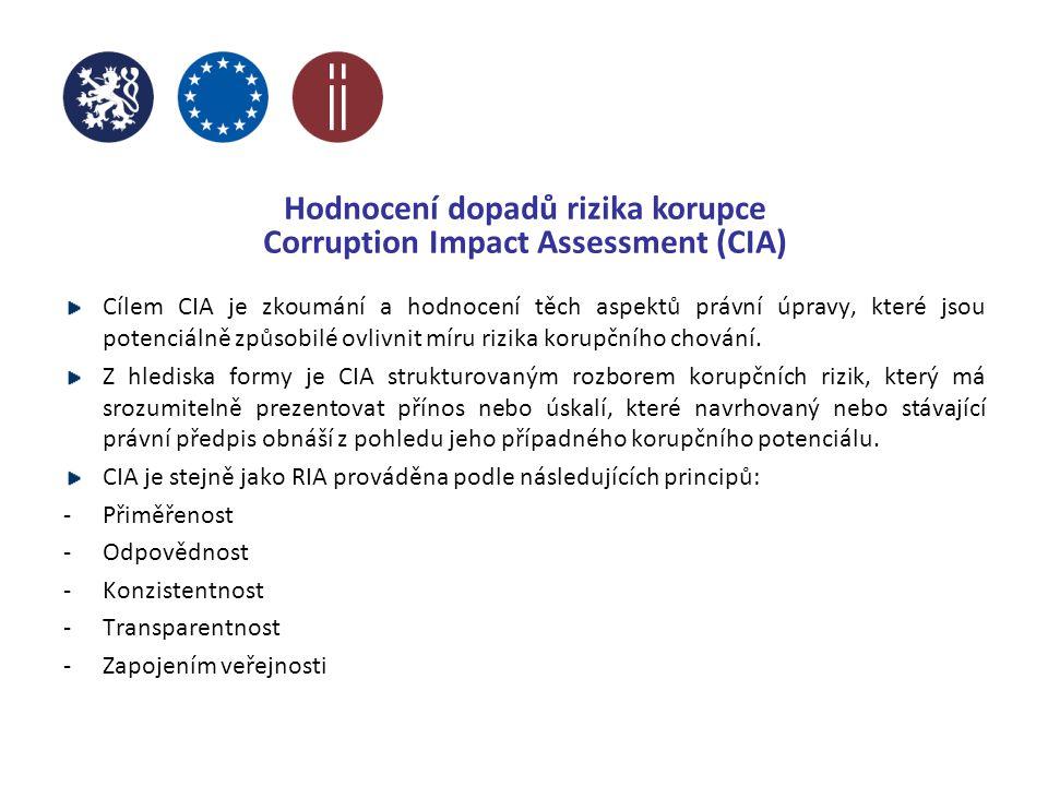 Hodnocení dopadů rizika korupce Corruption Impact Assessment (CIA) Cílem CIA je zkoumání a hodnocení těch aspektů právní úpravy, které jsou potenciálně způsobilé ovlivnit míru rizika korupčního chování.