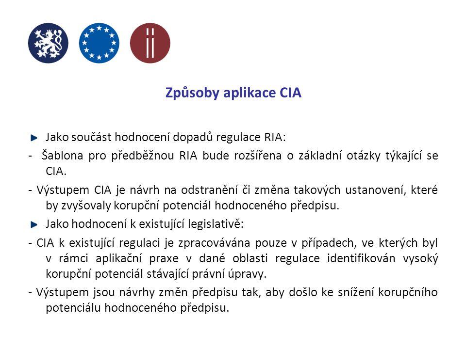 Způsoby aplikace CIA Jako součást hodnocení dopadů regulace RIA: - Šablona pro předběžnou RIA bude rozšířena o základní otázky týkající se CIA.