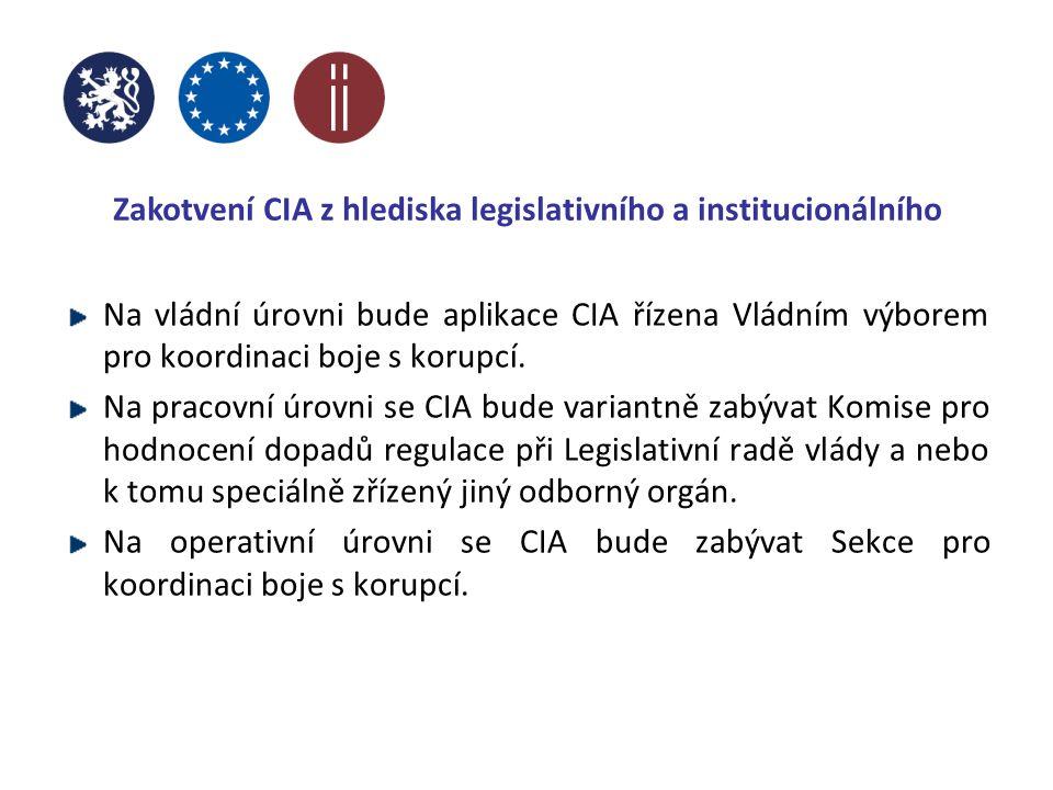Zakotvení CIA z hlediska legislativního a institucionálního Na vládní úrovni bude aplikace CIA řízena Vládním výborem pro koordinaci boje s korupcí.