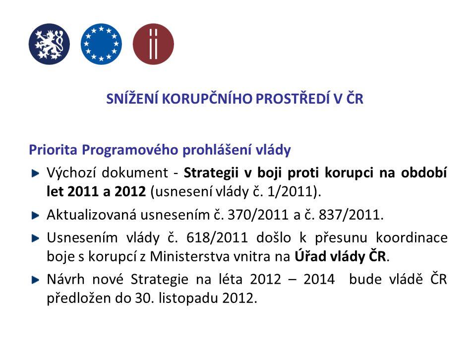 Priorita Programového prohlášení vlády Výchozí dokument - Strategii v boji proti korupci na období let 2011 a 2012 (usnesení vlády č.