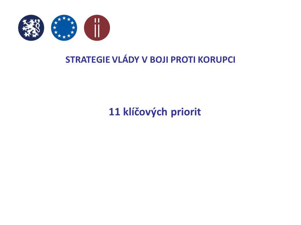 STRATEGIE VLÁDY V BOJI PROTI KORUPCI 11 klíčových priorit