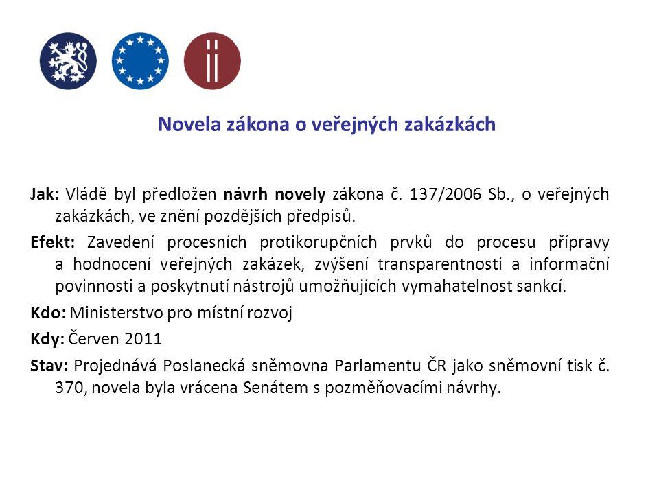 Novela zákona o veřejných zakázkách Jak: Vládě byl předložen návrh novely zákona č.