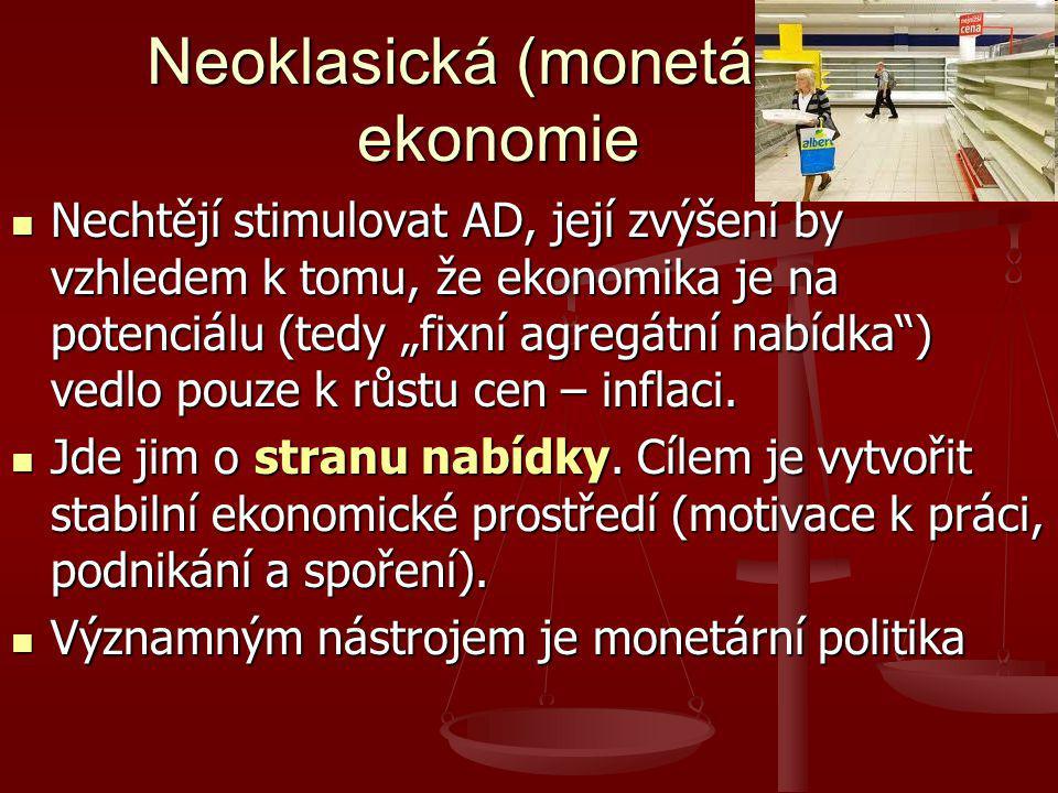 """Neoklasická (monetární) ekonomie Nechtějí stimulovat AD, její zvýšení by vzhledem k tomu, že ekonomika je na potenciálu (tedy """"fixní agregátní nabídka ) vedlo pouze k růstu cen – inflaci."""