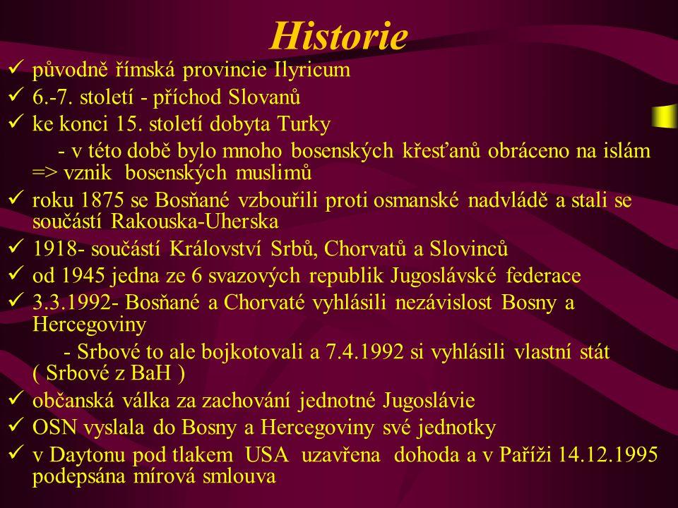 Historie p ůvodně římská provincie Ilyricum 6.-7. století - příchod Slovanů k e konci 15. století dobyta Turky - v této době bylo mnoho bosenských kře