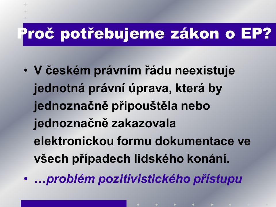 Proč potřebujeme zákon o EP? V českém právním řádu neexistuje jednotná právní úprava, která by jednoznačně připouštěla nebo jednoznačně zakazovala ele