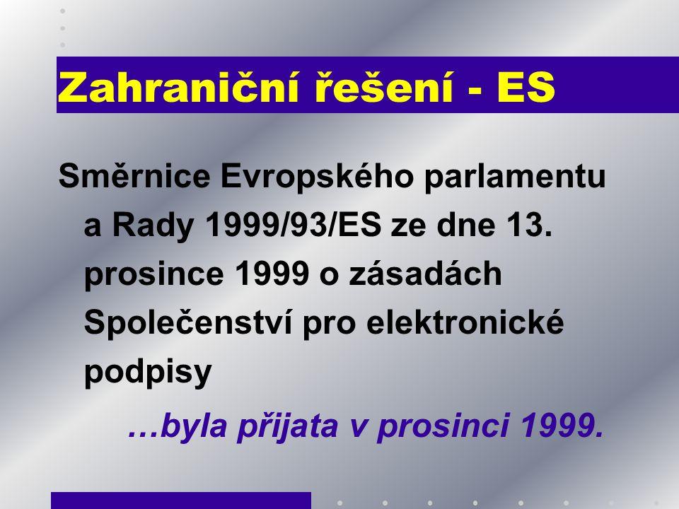 Zahraniční řešení - ES Směrnice Evropského parlamentu a Rady 1999/93/ES ze dne 13. prosince 1999 o zásadách Společenství pro elektronické podpisy …byl