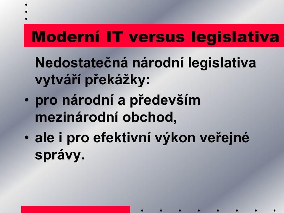 Moderní IT versus legislativa Nedostatečná národní legislativa vytváří překážky: pro národní a především mezinárodní obchod, ale i pro efektivní výkon