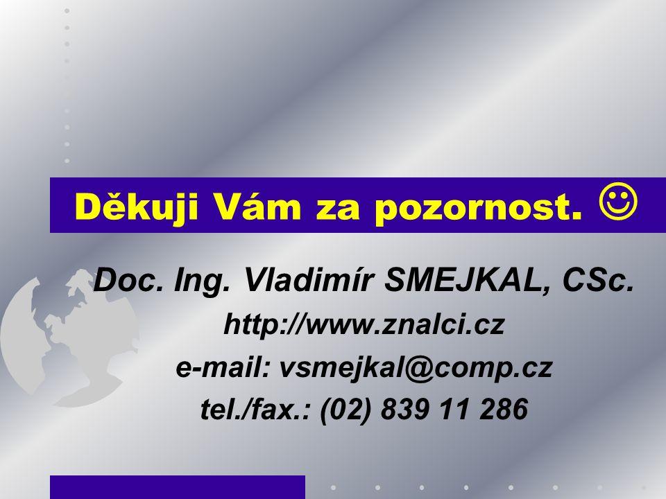 Děkuji Vám za pozornost. Doc. Ing. Vladimír SMEJKAL, CSc. http://www.znalci.cz e-mail: vsmejkal@comp.cz tel./fax.: (02) 839 11 286