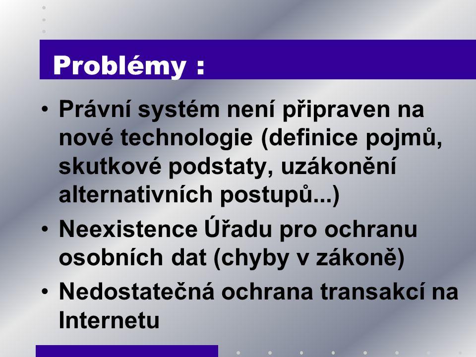 Problémy : Právní systém není připraven na nové technologie (definice pojmů, skutkové podstaty, uzákonění alternativních postupů...) Neexistence Úřadu