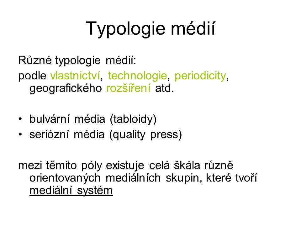 Typologie médií Různé typologie médií: podle vlastnictví, technologie, periodicity, geografického rozšíření atd. bulvární média (tabloidy) seriózní mé