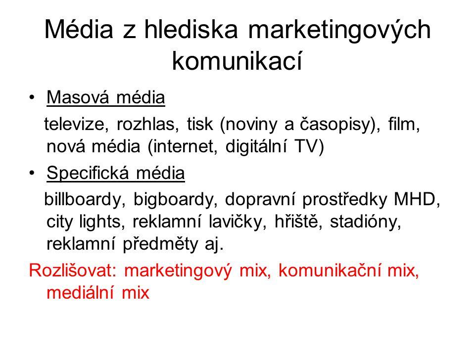 Média z hlediska marketingových komunikací Masová média televize, rozhlas, tisk (noviny a časopisy), film, nová média (internet, digitální TV) Specifi