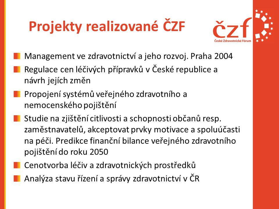 Projekty realizované ČZF Management ve zdravotnictví a jeho rozvoj.
