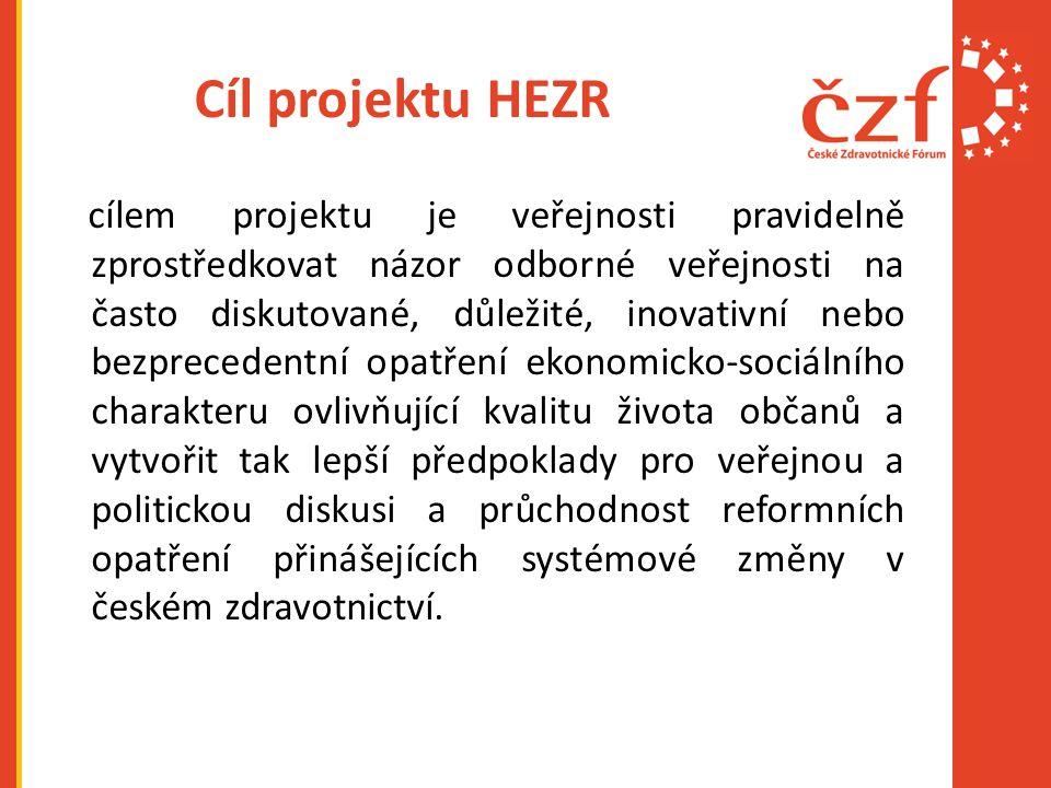 Cíl projektu HEZR cílem projektu je veřejnosti pravidelně zprostředkovat názor odborné veřejnosti na často diskutované, důležité, inovativní nebo bezprecedentní opatření ekonomicko-sociálního charakteru ovlivňující kvalitu života občanů a vytvořit tak lepší předpoklady pro veřejnou a politickou diskusi a průchodnost reformních opatření přinášejících systémové změny v českém zdravotnictví.