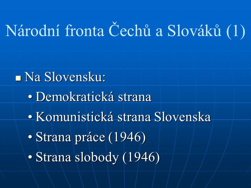 Národní fronta Čechů a Slováků (1) Na Slovensku: Na Slovensku: Demokratická stranaDemokratická strana Komunistická strana SlovenskaKomunistická strana Slovenska Strana práce (1946)Strana práce (1946) Strana slobody (1946)Strana slobody (1946)