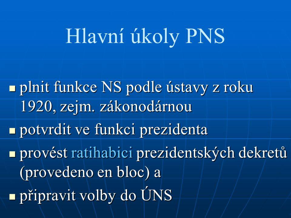 Hlavní úkoly PNS plnit funkce NS podle ústavy z roku 1920, zejm. zákonodárnou plnit funkce NS podle ústavy z roku 1920, zejm. zákonodárnou potvrdit ve