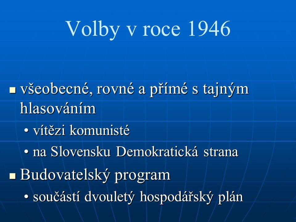 Volby v roce 1946 všeobecné, rovné a přímé s tajným hlasováním všeobecné, rovné a přímé s tajným hlasováním vítězi komunistévítězi komunisté na Slovensku Demokratická stranana Slovensku Demokratická strana Budovatelský program Budovatelský program součástí dvouletý hospodářský plánsoučástí dvouletý hospodářský plán