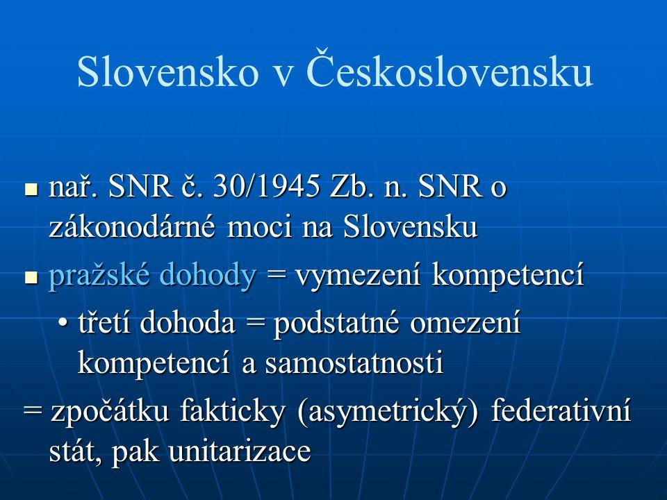 Slovensko v Československu nař. SNR č. 30/1945 Zb. n. SNR o zákonodárné moci na Slovensku nař. SNR č. 30/1945 Zb. n. SNR o zákonodárné moci na Slovens