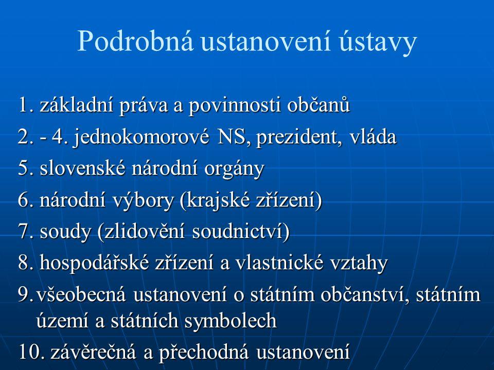 Podrobná ustanovení ústavy 1. základní práva a povinnosti občanů 2. - 4. jednokomorové NS, prezident, vláda 5. slovenské národní orgány 6. národní výb