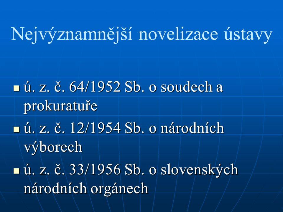 Nejvýznamnější novelizace ústavy ú. z. č. 64/1952 Sb. o soudech a prokuratuře ú. z. č. 64/1952 Sb. o soudech a prokuratuře ú. z. č. 12/1954 Sb. o náro