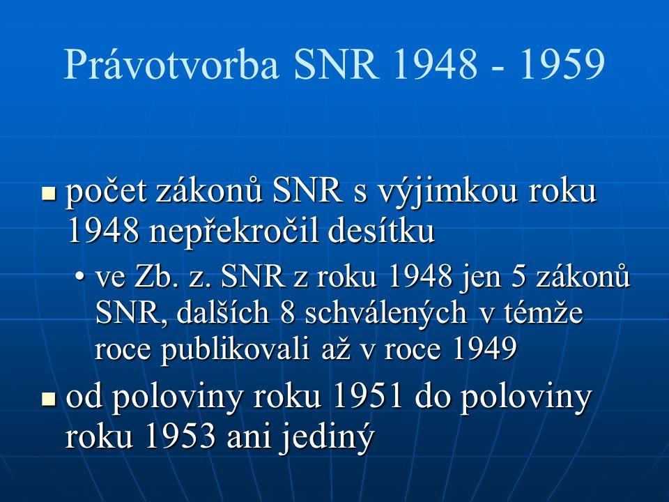 Právotvorba SNR 1948 - 1959 počet zákonů SNR s výjimkou roku 1948 nepřekročil desítku počet zákonů SNR s výjimkou roku 1948 nepřekročil desítku ve Zb.