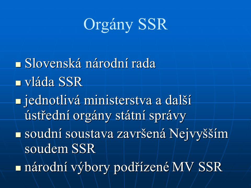 Orgány SSR Slovenská národní rada Slovenská národní rada vláda SSR vláda SSR jednotlivá ministerstva a další ústřední orgány státní správy jednotlivá
