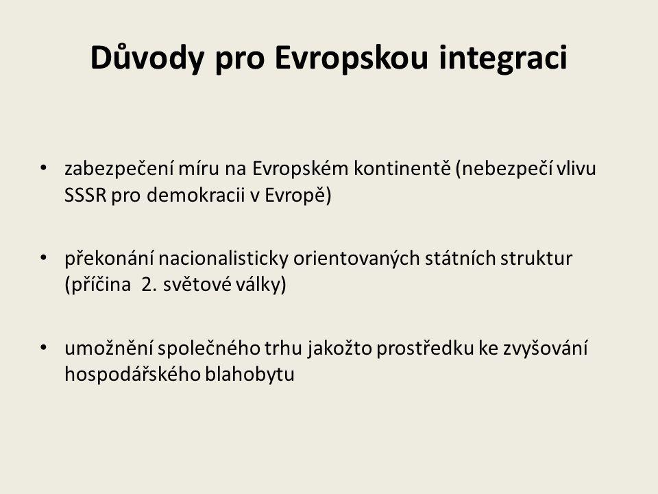 Důvody pro Evropskou integraci zabezpečení míru na Evropském kontinentě (nebezpečí vlivu SSSR pro demokracii v Evropě) překonání nacionalisticky orien