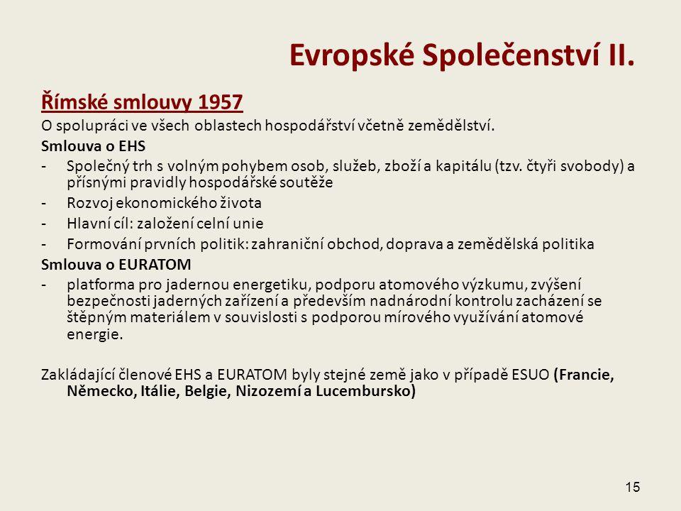 Římské smlouvy 1957 O spolupráci ve všech oblastech hospodářství včetně zemědělství. Smlouva o EHS - Společný trh s volným pohybem osob, služeb, zboží