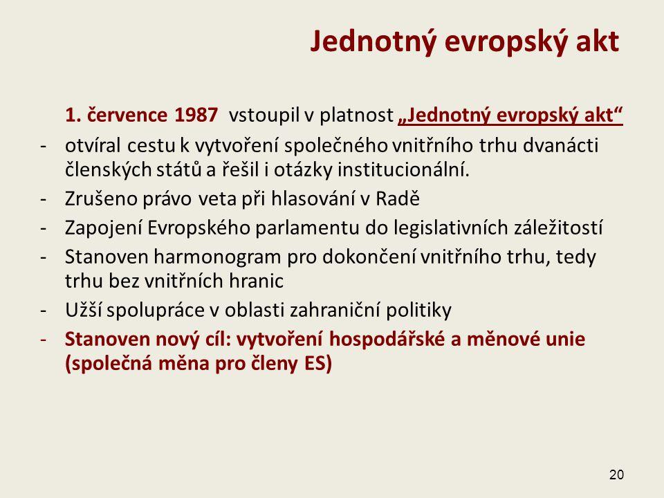 """1. července 1987 vstoupil v platnost """"Jednotný evropský akt"""" -otvíral cestu k vytvoření společného vnitřního trhu dvanácti členských států a řešil i o"""