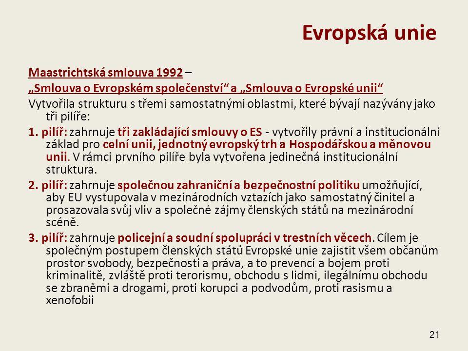 """Maastrichtská smlouva 1992 – """"Smlouva o Evropském společenství"""" a """"Smlouva o Evropské unii"""" Vytvořila strukturu s třemi samostatnými oblastmi, které b"""