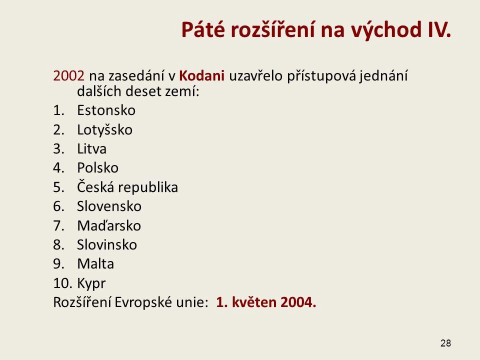 2002 na zasedání v Kodani uzavřelo přístupová jednání dalších deset zemí: 1.Estonsko 2.Lotyšsko 3.Litva 4.Polsko 5.Česká republika 6.Slovensko 7.Maďar