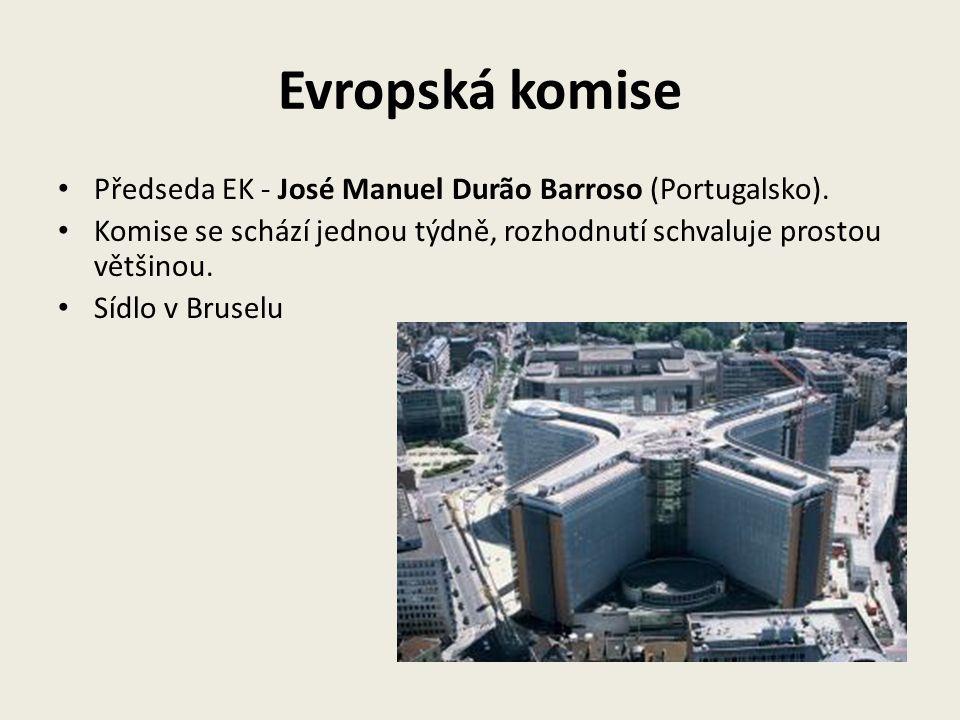 Evropská komise Předseda EK - José Manuel Durão Barroso (Portugalsko). Komise se schází jednou týdně, rozhodnutí schvaluje prostou většinou. Sídlo v B