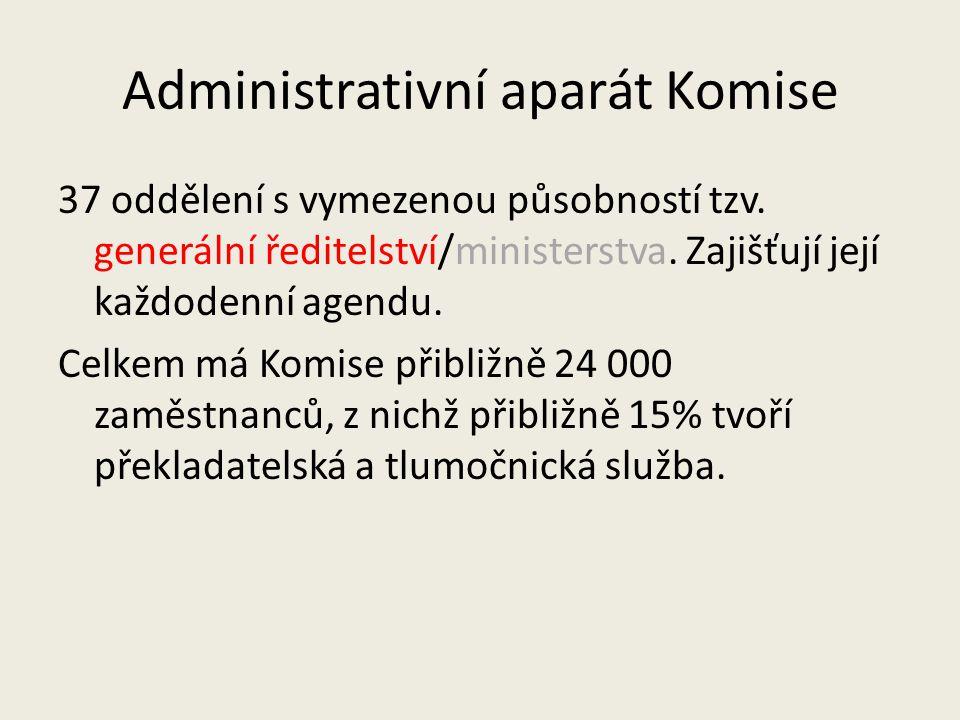 Administrativní aparát Komise 37 oddělení s vymezenou působností tzv. generální ředitelství/ministerstva. Zajišťují její každodenní agendu. Celkem má
