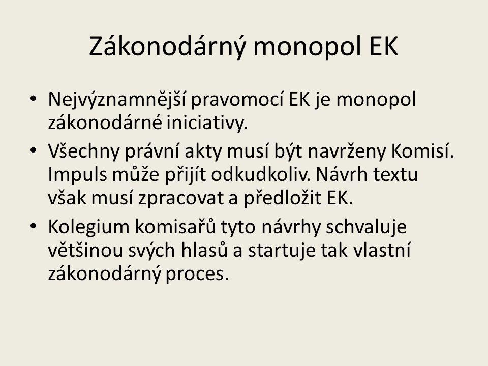 Zákonodárný monopol EK Nejvýznamnější pravomocí EK je monopol zákonodárné iniciativy. Všechny právní akty musí být navrženy Komisí. Impuls může přijít