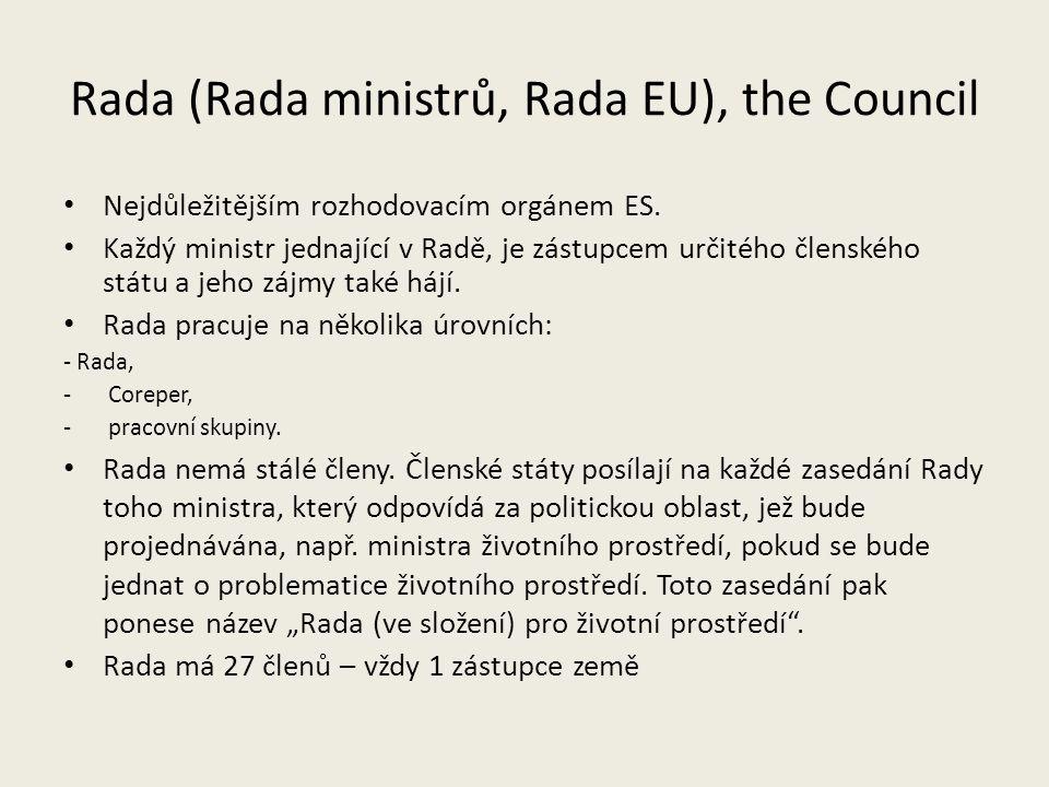 Rada (Rada ministrů, Rada EU), the Council Nejdůležitějším rozhodovacím orgánem ES. Každý ministr jednající v Radě, je zástupcem určitého členského st