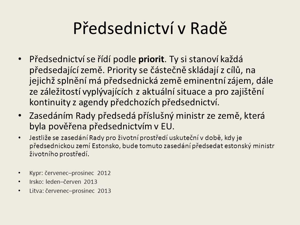 Předsednictví v Radě Předsednictví se řídí podle priorit. Ty si stanoví každá předsedající země. Priority se částečně skládají z cílů, na jejichž spln