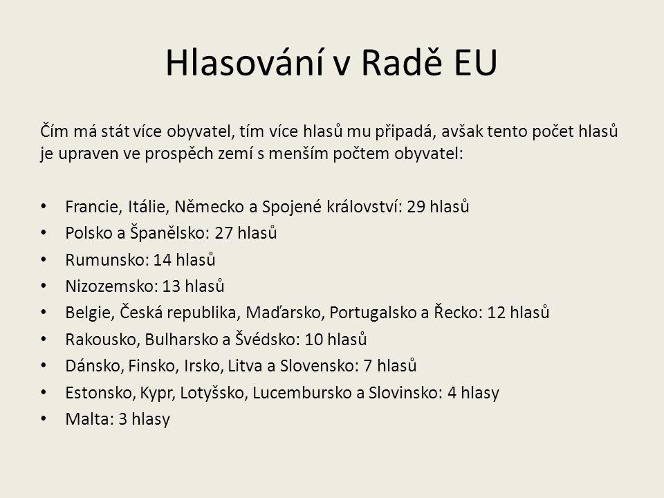 Hlasování v Radě EU Čím má stát více obyvatel, tím více hlasů mu připadá, avšak tento počet hlasů je upraven ve prospěch zemí s menším počtem obyvatel: Francie, Itálie, Německo a Spojené království: 29 hlasů Polsko a Španělsko: 27 hlasů Rumunsko: 14 hlasů Nizozemsko: 13 hlasů Belgie, Česká republika, Maďarsko, Portugalsko a Řecko: 12 hlasů Rakousko, Bulharsko a Švédsko: 10 hlasů Dánsko, Finsko, Irsko, Litva a Slovensko: 7 hlasů Estonsko, Kypr, Lotyšsko, Lucembursko a Slovinsko: 4 hlasy Malta: 3 hlasy