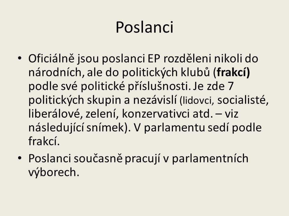 Poslanci Oficiálně jsou poslanci EP rozděleni nikoli do národních, ale do politických klubů (frakcí) podle své politické příslušnosti.