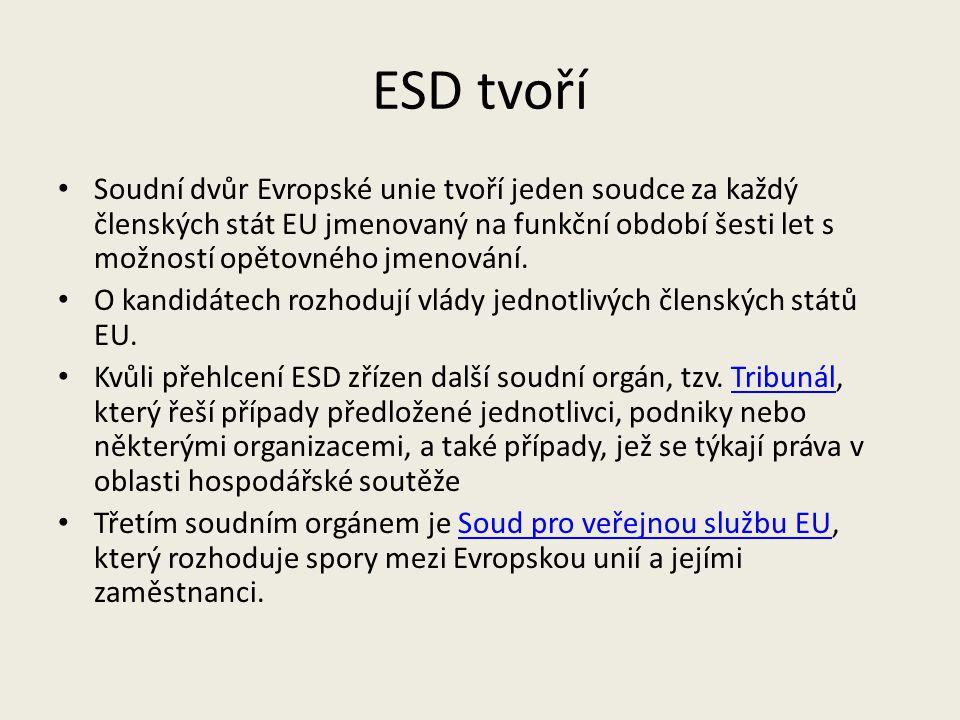 ESD tvoří Soudní dvůr Evropské unie tvoří jeden soudce za každý členských stát EU jmenovaný na funkční období šesti let s možností opětovného jmenován