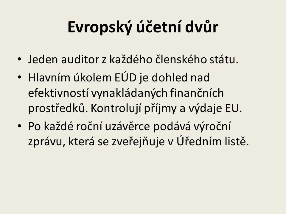 Evropský účetní dvůr Jeden auditor z každého členského státu. Hlavním úkolem EÚD je dohled nad efektivností vynakládaných finančních prostředků. Kontr