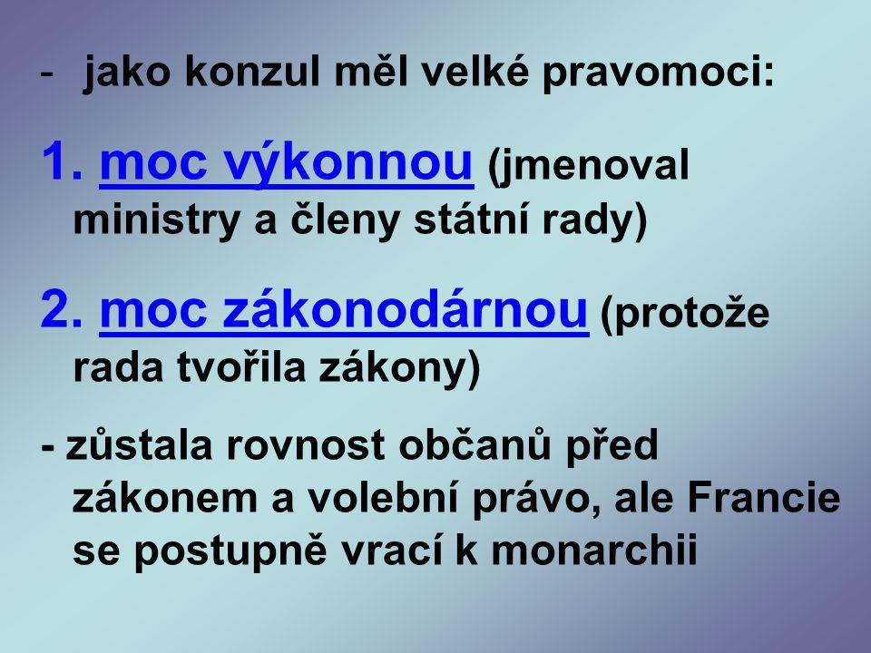 - jako konzul měl velké pravomoci: 1.moc výkonnou (jmenoval ministry a členy státní rady) 2.
