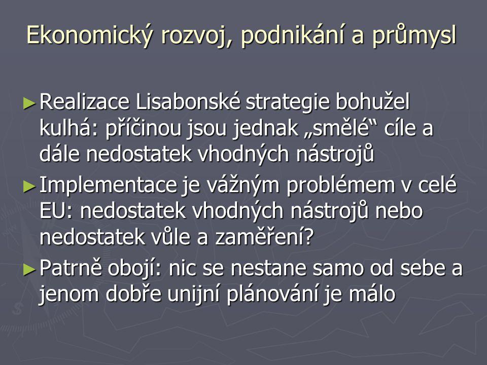 """Ekonomický rozvoj, podnikání a průmysl ► Realizace Lisabonské strategie bohužel kulhá: příčinou jsou jednak """"smělé cíle a dále nedostatek vhodných nástrojů ► Implementace je vážným problémem v celé EU: nedostatek vhodných nástrojů nebo nedostatek vůle a zaměření."""