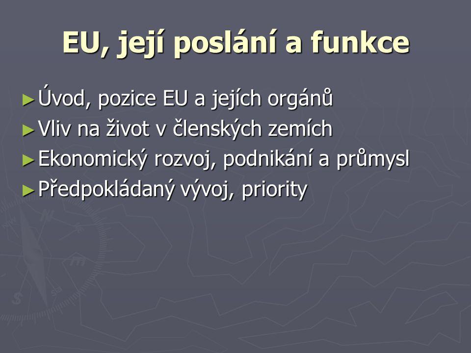 EU, její poslání a funkce ► Úvod, pozice EU a jejích orgánů ► Vliv na život v členských zemích ► Ekonomický rozvoj, podnikání a průmysl ► Předpokládaný vývoj, priority