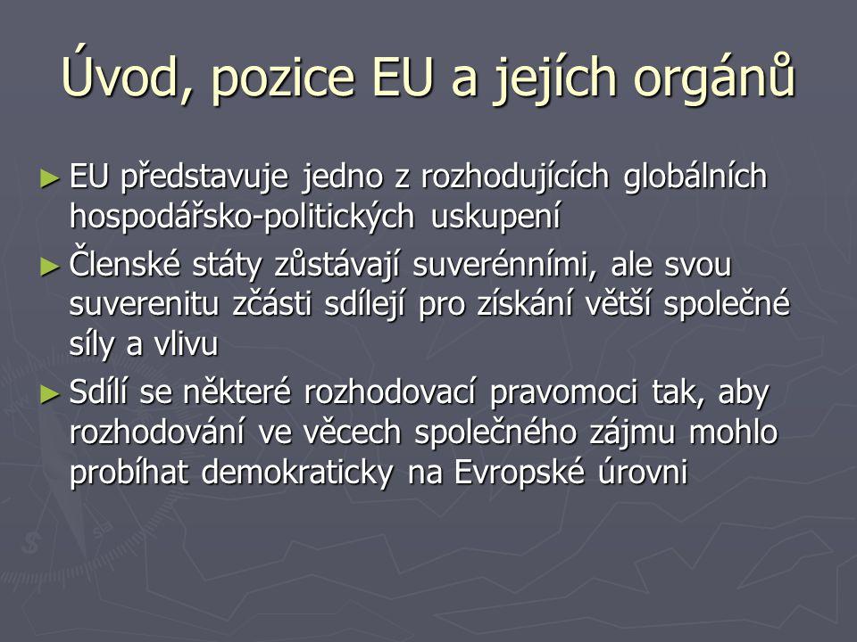 Úvod, pozice EU a jejích orgánů ► EU představuje jedno z rozhodujících globálních hospodářsko-politických uskupení ► Členské státy zůstávají suverénními, ale svou suverenitu zčásti sdílejí pro získání větší společné síly a vlivu ► Sdílí se některé rozhodovací pravomoci tak, aby rozhodování ve věcech společného zájmu mohlo probíhat demokraticky na Evropské úrovni