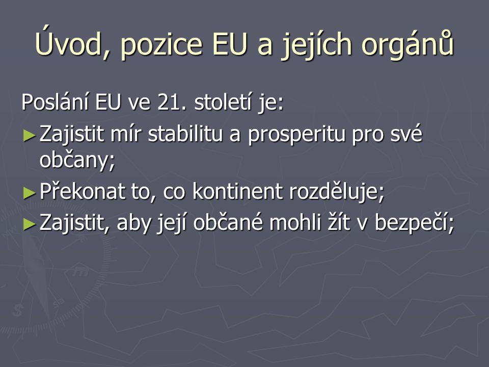Úvod, pozice EU a jejích orgánů Poslání EU ve 21.