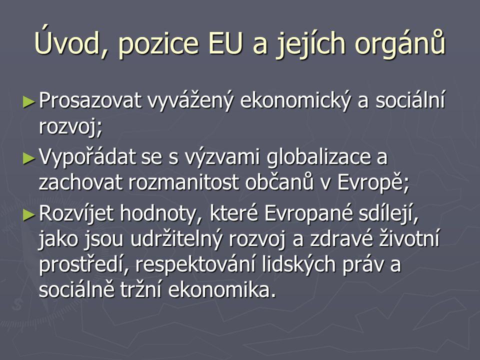 Úvod, pozice EU a jejích orgánů ► Prosazovat vyvážený ekonomický a sociální rozvoj; ► Vypořádat se s výzvami globalizace a zachovat rozmanitost občanů v Evropě; ► Rozvíjet hodnoty, které Evropané sdílejí, jako jsou udržitelný rozvoj a zdravé životní prostředí, respektování lidských práv a sociálně tržní ekonomika.